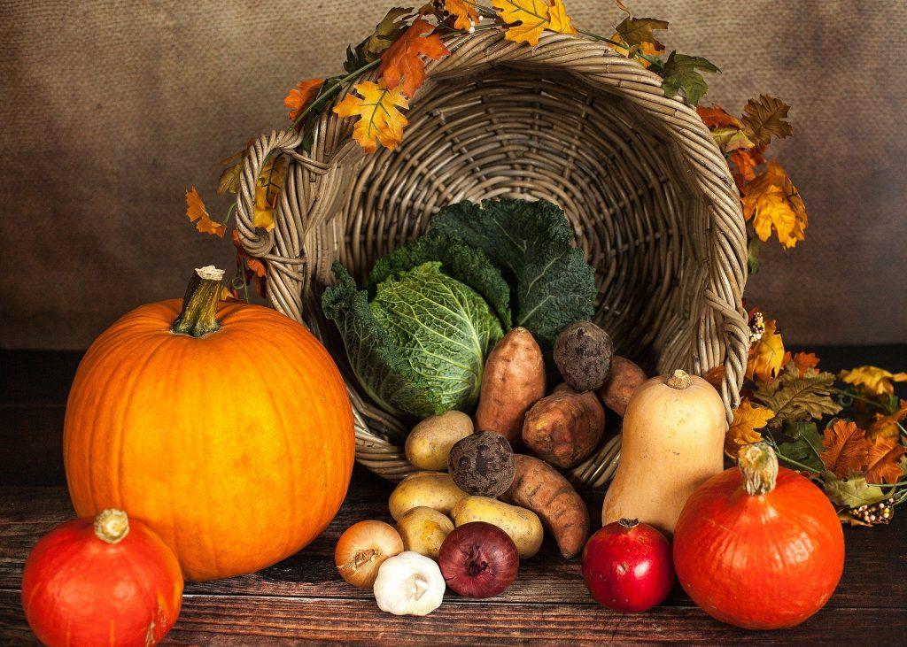 Een mooie fruit-groentemand gevuld met verschillende herfst-'artikelen'. Het geeft een bijzonder stilleven.