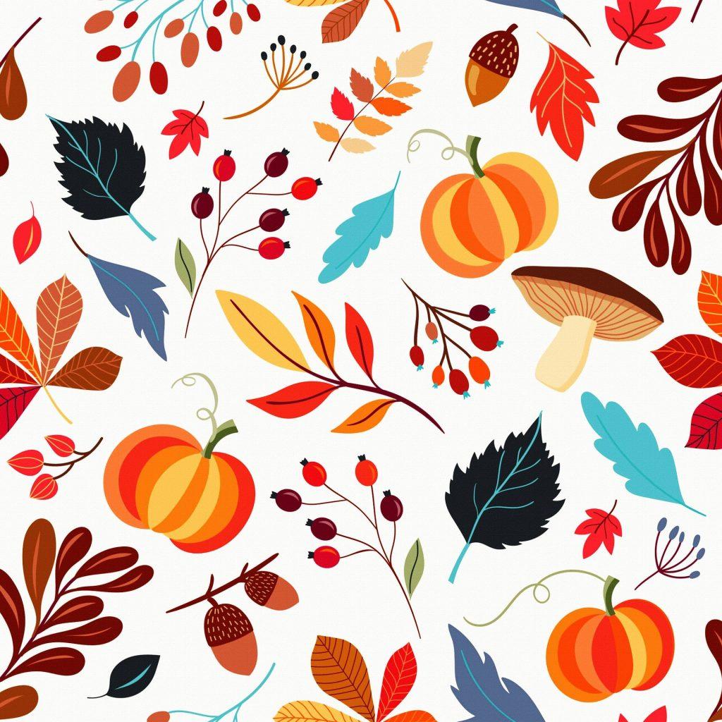 Een 2D-cartoon versie van verschillende herfstobjecten. Pompoenen, paddenstoelen, besjes, bladeren en diverse anderen. Erg mooi als rustgevende achtergrond, of misschien zelfs als schilderij ergens in huis.