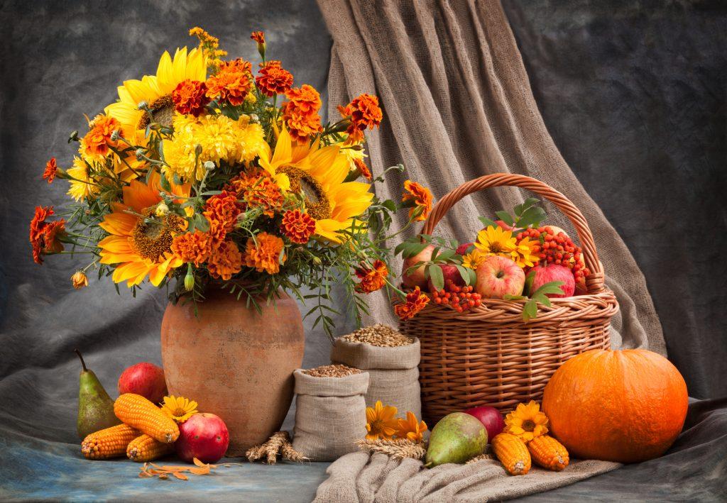 Een schilderij-achtig stilleven met een herfstachtig thema. Een mooi gevulde vaas met zonnebloemen en andere oranje-gekleurde bloemen. Ook een mooie fruitmand gevuld met vitaminerijke appels, peren en maïskolven. Pompoenen en andere zaden zijn ook te zien.